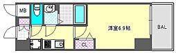 プレサンス阿波座駅前 14階1Kの間取り