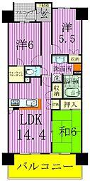 埼玉県八潮市大瀬1丁目の賃貸マンションの間取り