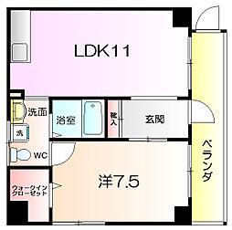 ブランカ堺東 4階1LDKの間取り