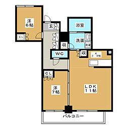 プラウドタワー名古屋栄[25階]の間取り