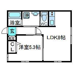 大阪府高槻市安満新町の賃貸アパートの間取り