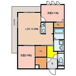 シャーメゾン別宮(べっくう)[1階]の間取り