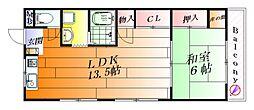 北野ハイツ[1階]の間取り