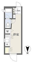 東急田園都市線 桜新町駅 徒歩3分の賃貸マンション 4階ワンルームの間取り