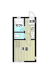 神奈川県横浜市鶴見区浜町1丁目の賃貸アパートの間取り