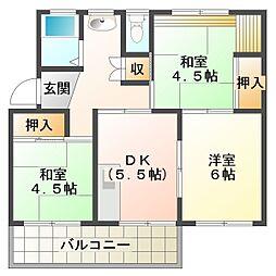 南多聞台住宅8号棟[2階]の間取り