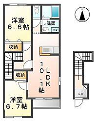 愛知県あま市富塚七反地の賃貸アパートの間取り