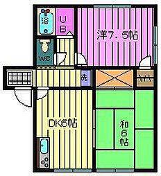 埼玉県さいたま市浦和区針ケ谷2丁目の賃貸アパートの間取り