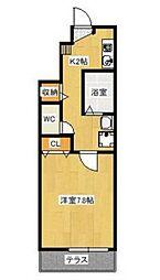JR山陽本線 東岡山駅 徒歩7分の賃貸アパート 1階1Kの間取り