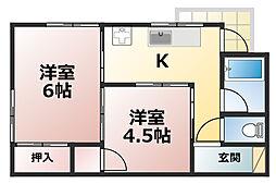 マンション中郷[2階]の間取り