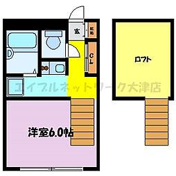 滋賀県大津市中央4丁目の賃貸アパートの間取り