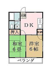 埼玉県草加市中根1の賃貸アパートの間取り