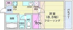 ホワイトキャッスルM&I 2番館 2階1Kの間取り