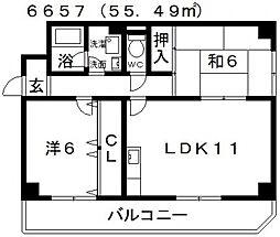 エスポワール恵我之荘[206号室号室]の間取り