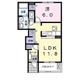 南海高野線 萩原天神駅 徒歩29分の賃貸アパート 1階1LDKの間取り