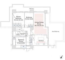 東京メトロ南北線 六本木一丁目駅 徒歩1分の賃貸マンション 32階3LDKの間取り