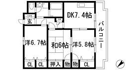 メゾンドローレル[4階]の間取り