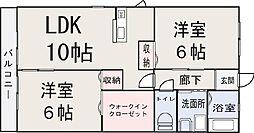 ロココ B 2階2LDKの間取り