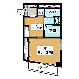 東急池上線 戸越銀座駅 徒歩6分の賃貸マンション 1階1Kの間取り
