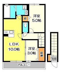 東京都小金井市緑町4丁目の賃貸アパートの間取り