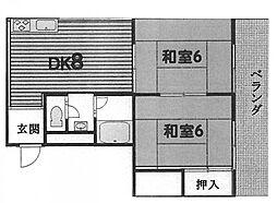 下川マンション(榎小学校区)[4階]の間取り