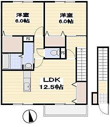 埼玉県上尾市東町2丁目の賃貸アパートの間取り