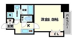 DwellingASAHI 6階1Kの間取り