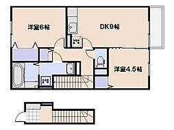 広島県広島市佐伯区利松3丁目の賃貸アパートの間取り