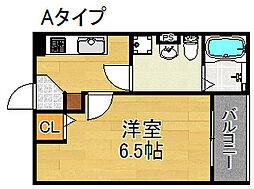 シャトー住之江[3階]の間取り