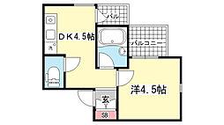 アメニティ東神戸4番館[305号室]の間取り