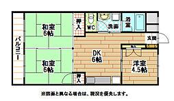 福岡県北九州市小倉南区中曽根4丁目の賃貸マンションの間取り