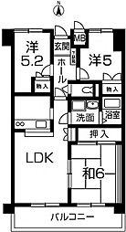 兵庫県姫路市辻井4丁目の賃貸マンションの間取り