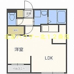 札幌市営東西線 西11丁目駅 徒歩11分の賃貸マンション 4階1LDKの間取り