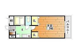 キャッスル山村 B棟[4階]の間取り