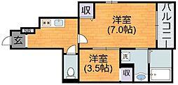 JR関西本線 加美駅 徒歩9分の賃貸アパート 1階1SKの間取り