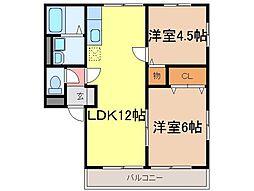 静岡県富士市一色の賃貸アパートの間取り