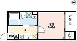 近鉄南大阪線 針中野駅 徒歩9分の賃貸アパート 1階1Kの間取り