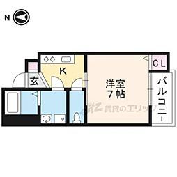 京阪本線 出町柳駅 徒歩17分の賃貸マンション 1階1Kの間取り