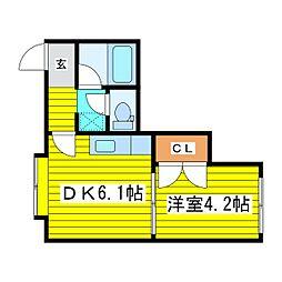 北海道札幌市東区北十一条東15丁目の賃貸アパートの間取り