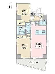EIRAKU apartment 8階2LDKの間取り