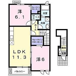 ランドマーク 2011 B[2階]の間取り