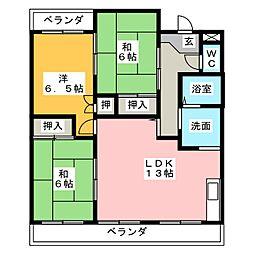 ル・シェリア有東坂[2階]の間取り