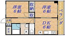 サンクス関目[4階]の間取り