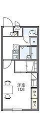 JR山陽本線 小月駅 徒歩5分の賃貸アパート 2階1Kの間取り