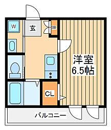 京王相模原線 京王稲田堤駅 徒歩4分の賃貸アパート 2階1Kの間取り