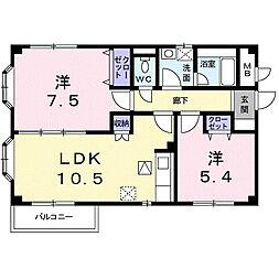 アーバンハウス1号館 1階2LDKの間取り