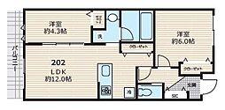 東急池上線 久が原駅 徒歩10分の賃貸アパート 2階2LDKの間取り