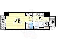 Osaka Metro堺筋線 長堀橋駅 徒歩3分の賃貸マンション 4階1Kの間取り