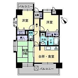 香川県高松市香西東町の賃貸マンションの間取り