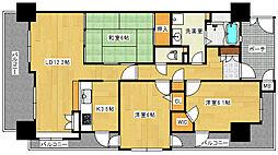 広島県広島市中区西白島町の賃貸マンションの間取り